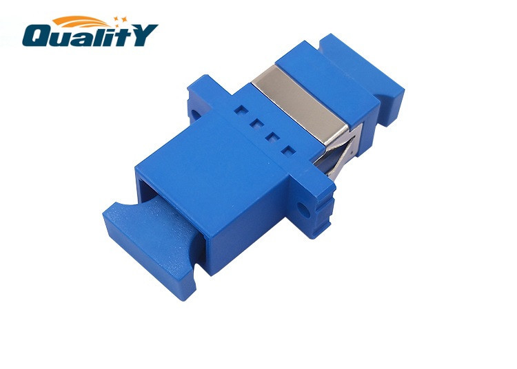 SC UPC Flange Connector Optic Fiber Adapter Low Insertion 0.2dB Blue Color